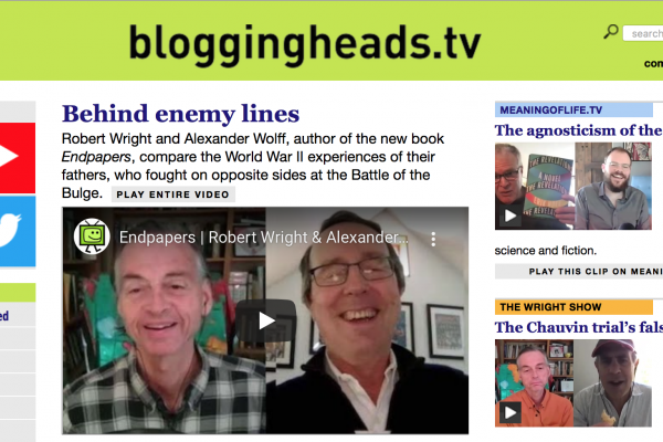 Robert Wright Features Endpapers on Bloggingheads.tv and The Wright Show